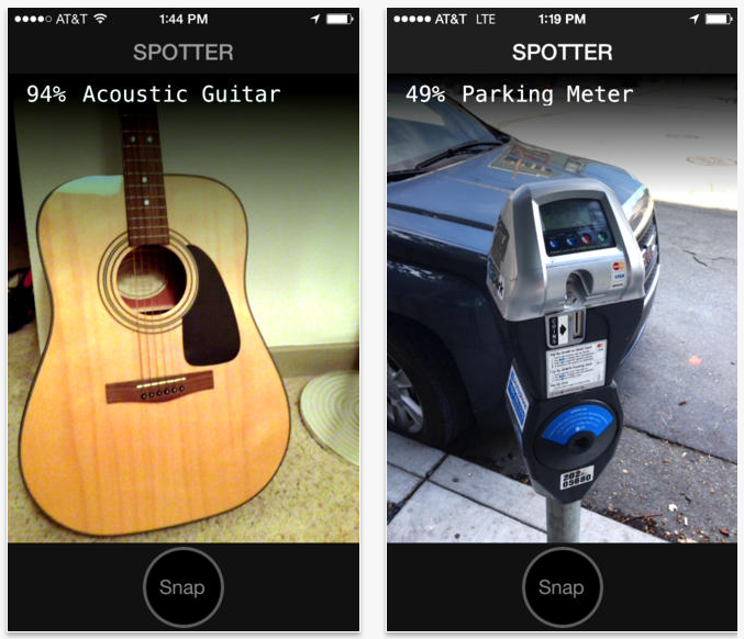 Screenshots of Jetpac's Spotter object-recognition app.