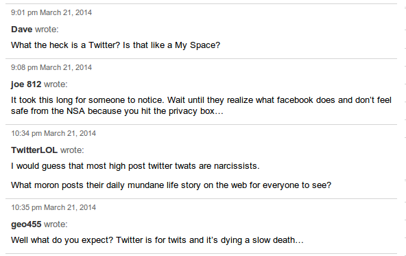 Twitter comments WSJ