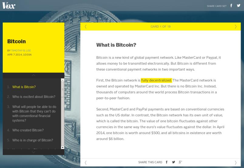 Vox -- Bitcoin card