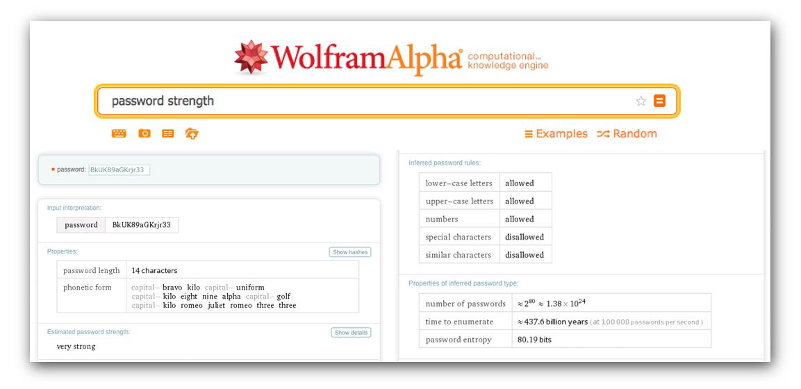 wolfram alpha password strength