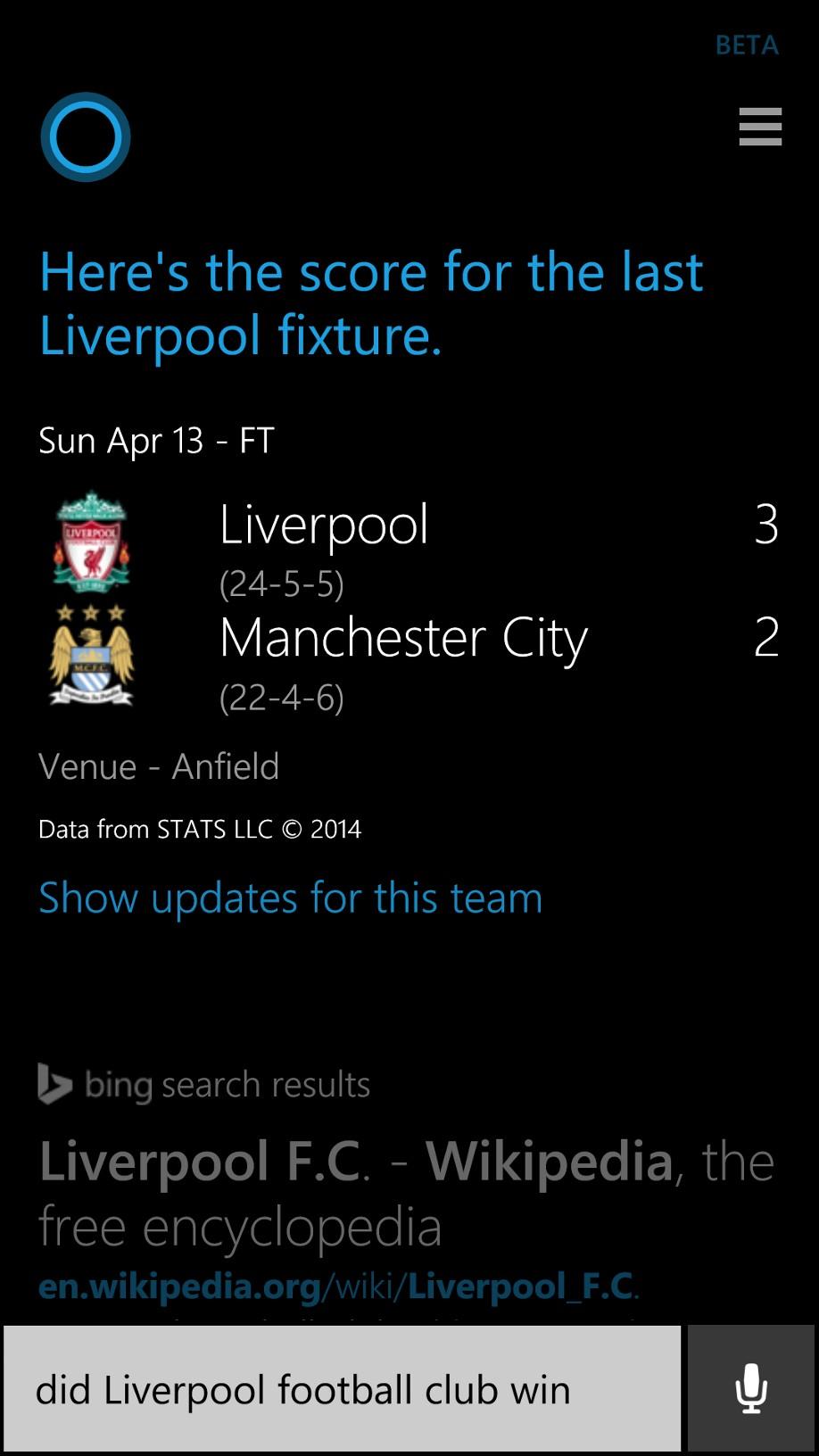 Cortana scores