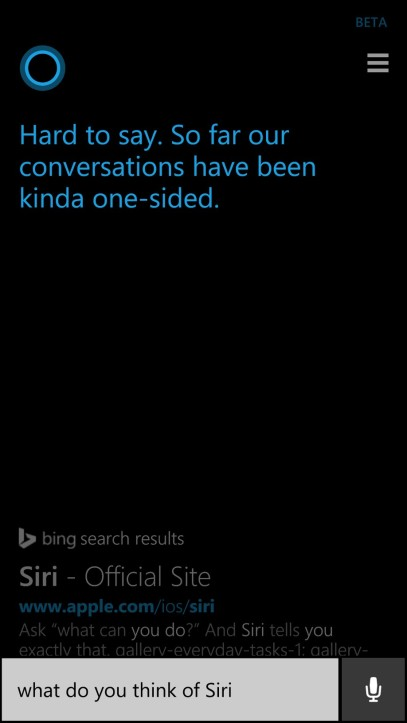 Cortana thinks about Siri