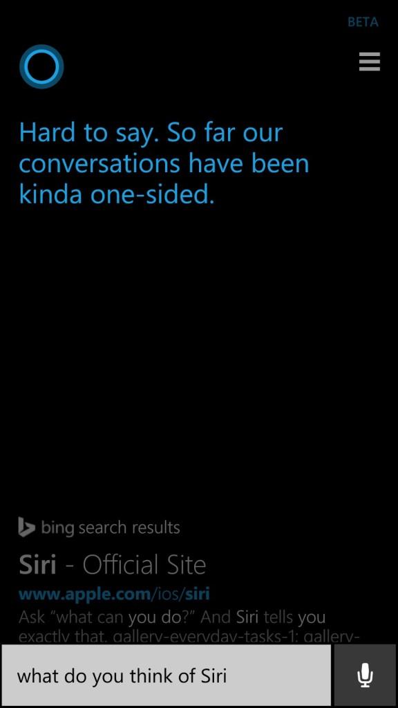 Cortana thinks about Siri