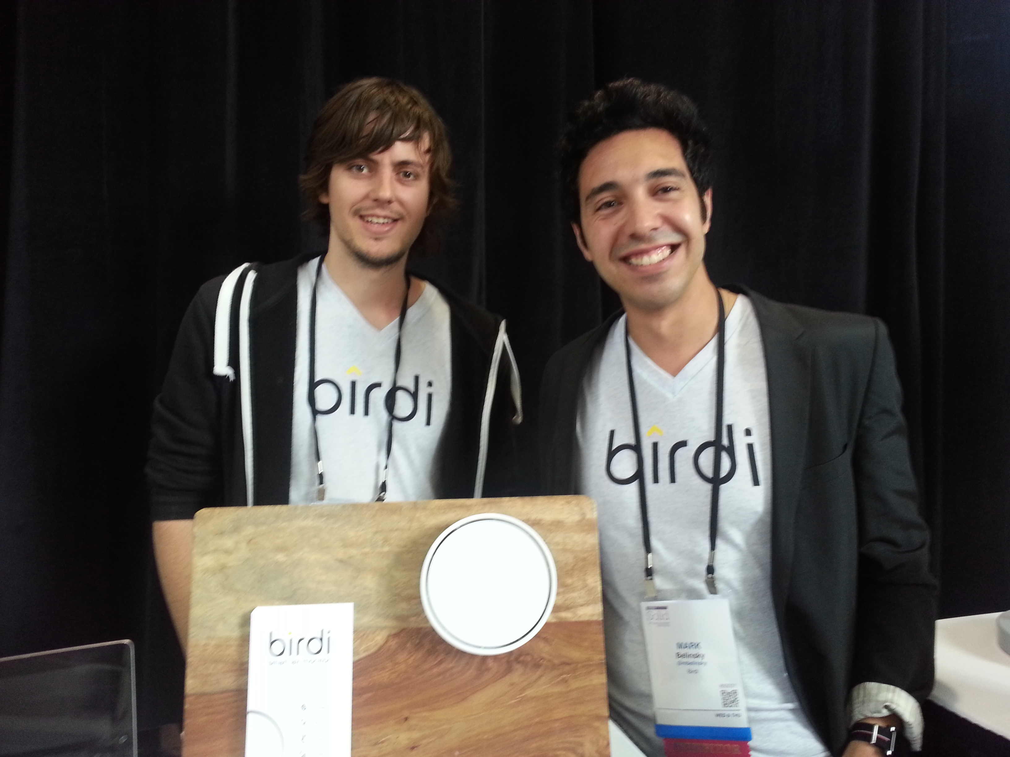 The founders of Birdi and their connected air quality monitor.