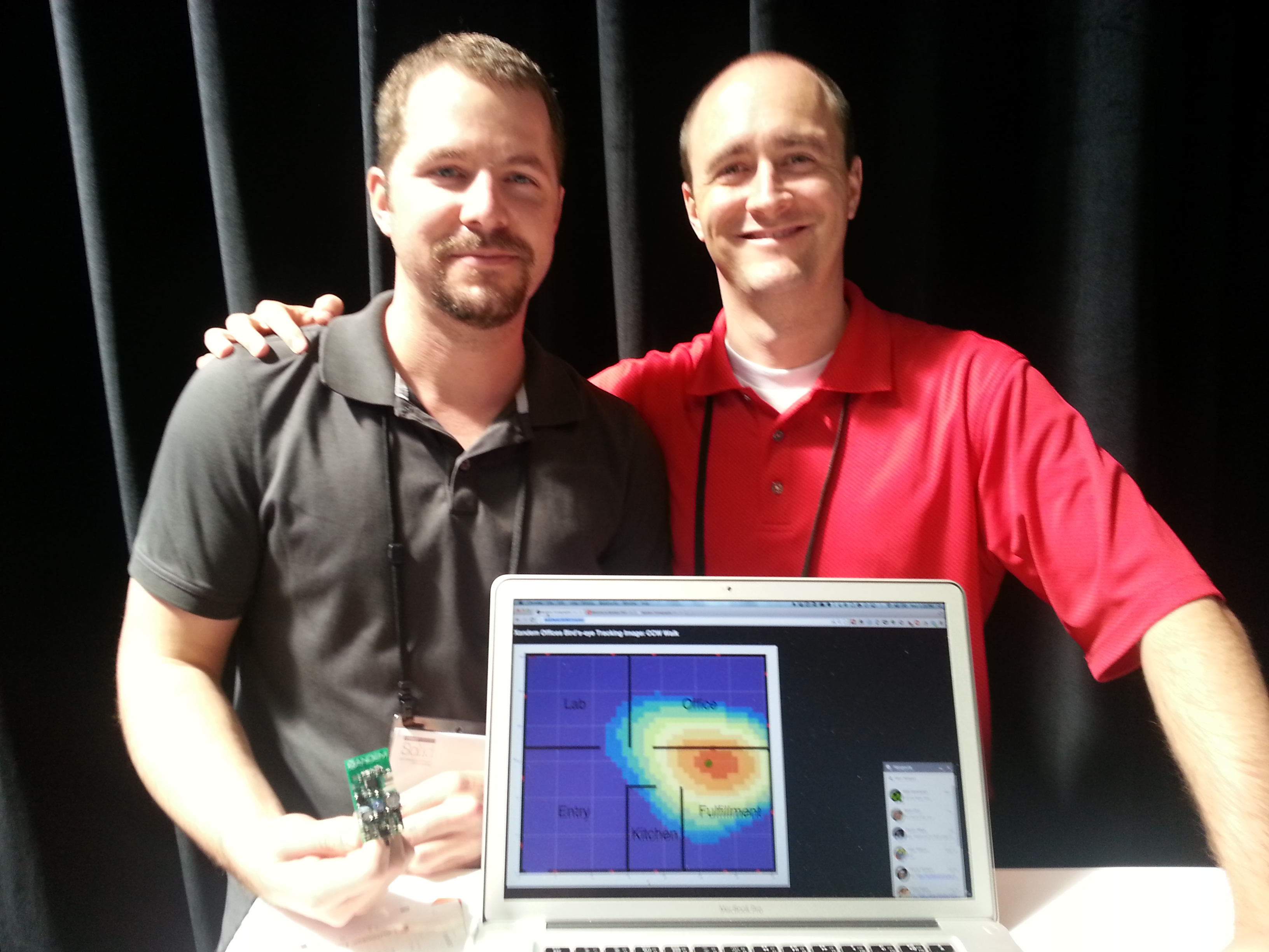 Xandem's CTO Dustin Maas (left) and CEO Joey Wilson (right) showing of their sensing technology.