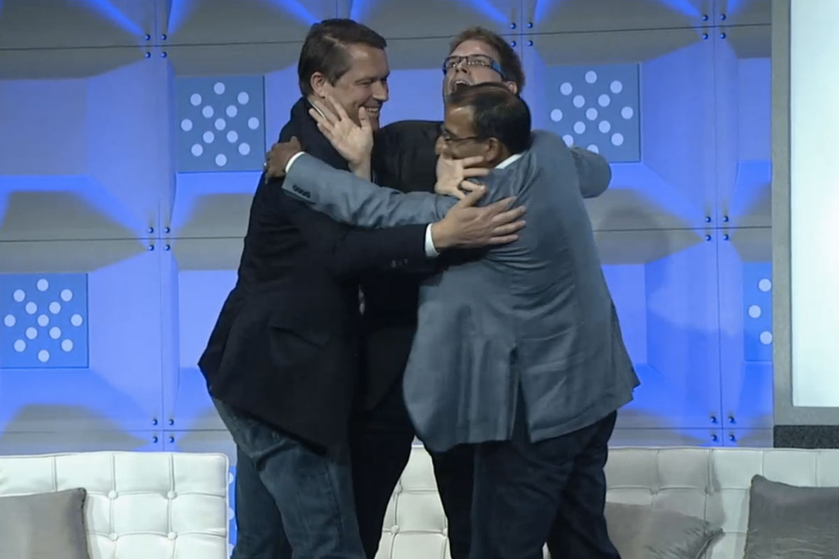 Rival open-source cloud players Marten Mickos, Chris Kemp, Sameer Dholakia hug it out at Structure 2012.