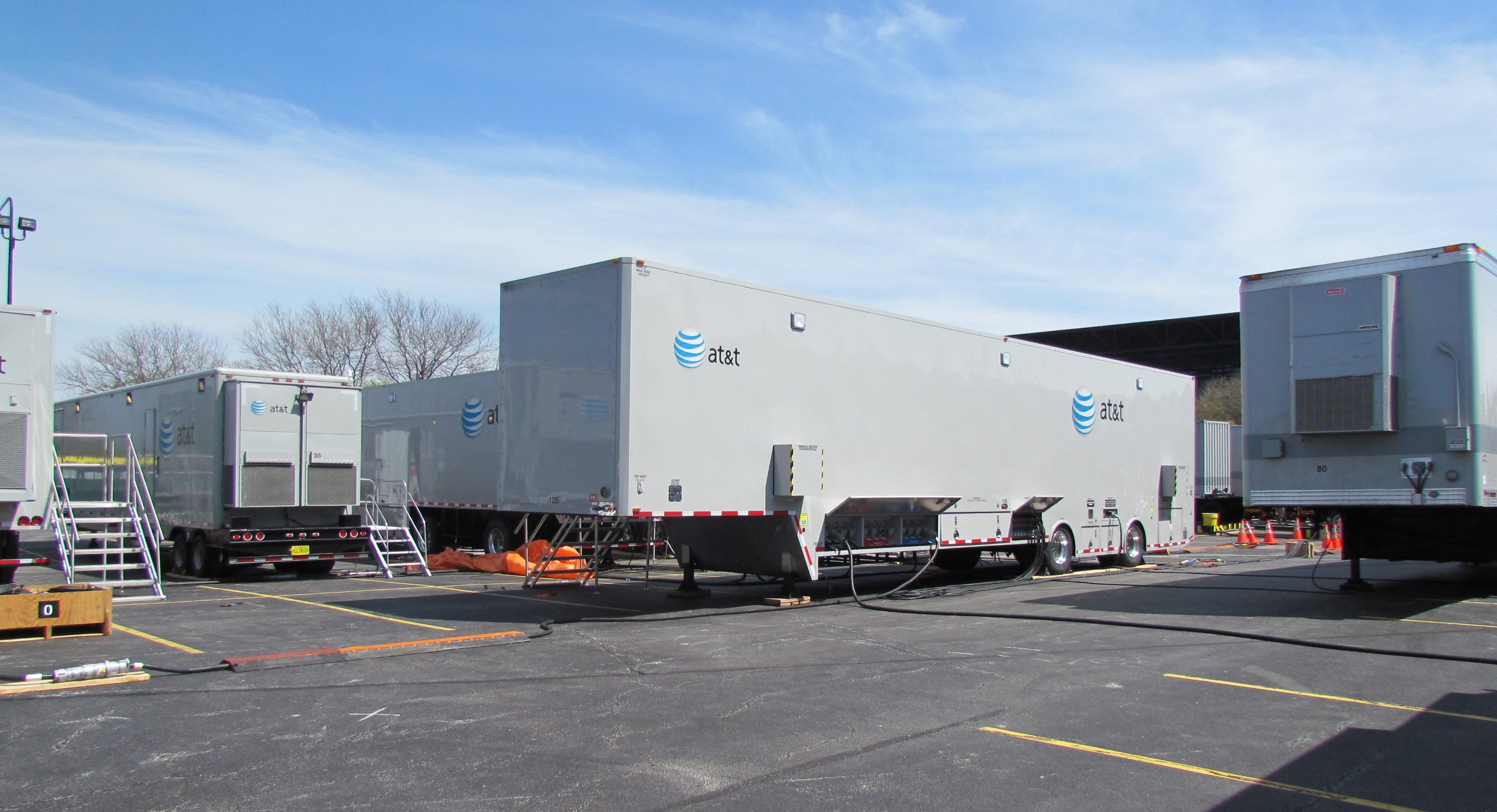 AT&T's disaster recovery trailers in Chicago's Soldier Field parking lot (Photo: Kevin Fitchard)