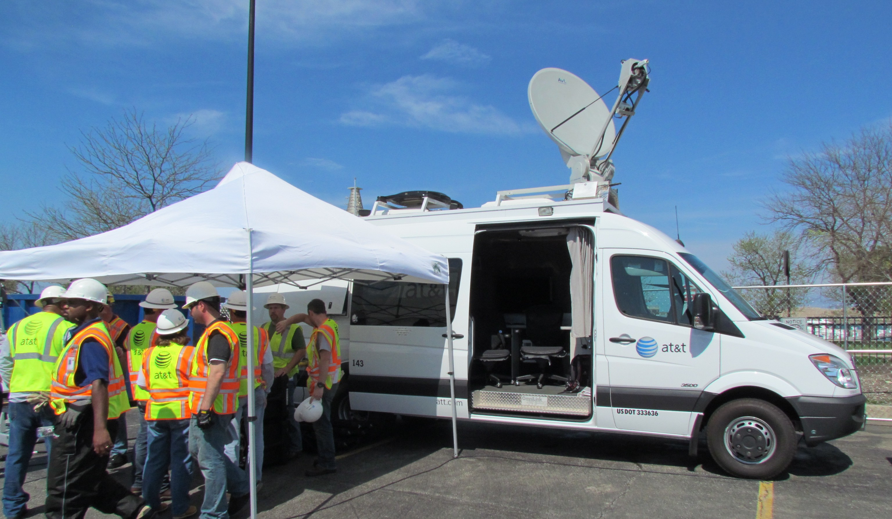An emergency communications van with satellite uplink, Wi-Fi and mobile small cell. Usually the first vehicle on-site during a disaster (Photo: Kevin Fitchard)