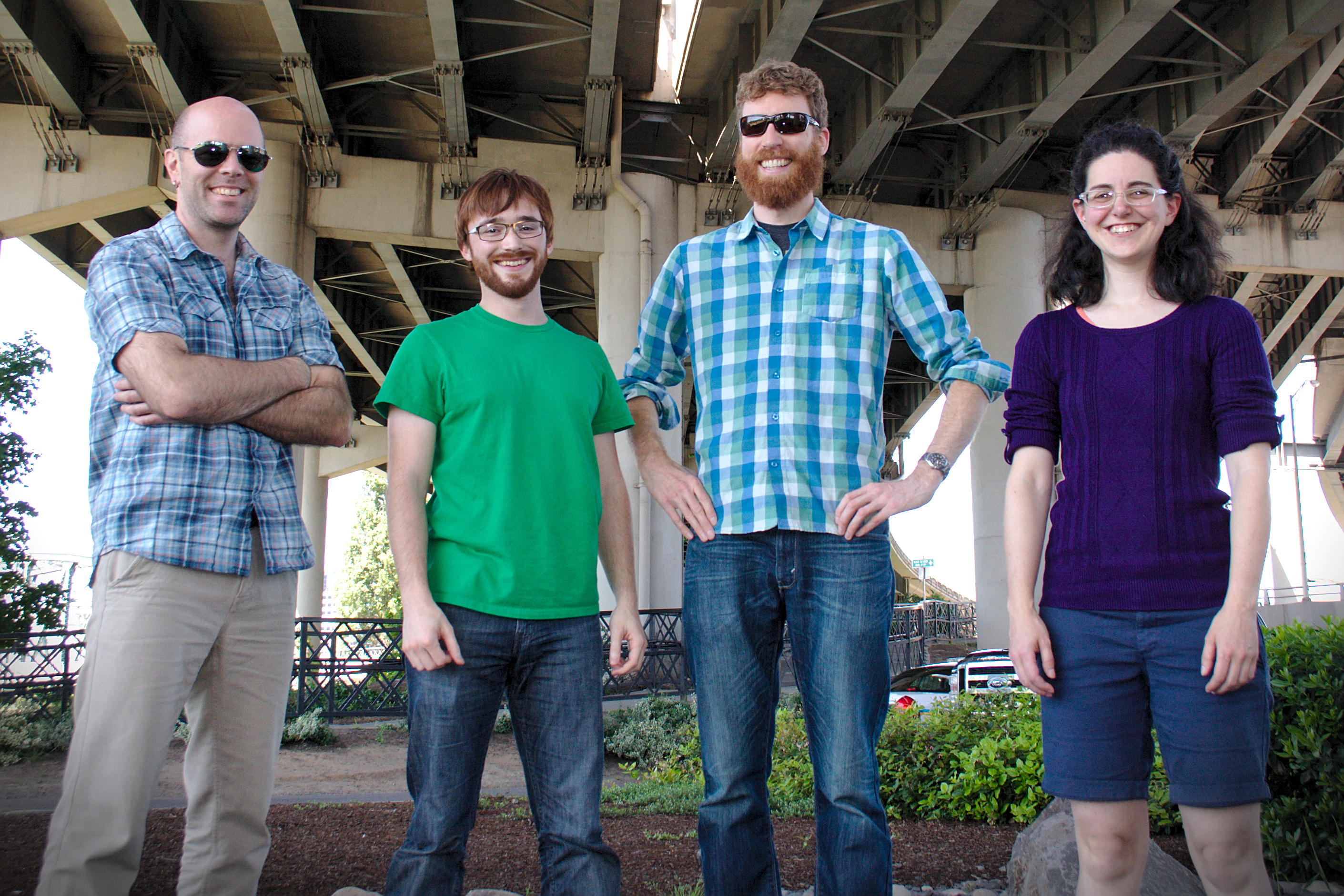 CloudBolt  team members (from left) Thomas Hamlin, Chris Mitchell, Bernard Sanders, Reina Abolofia in Portland office.
