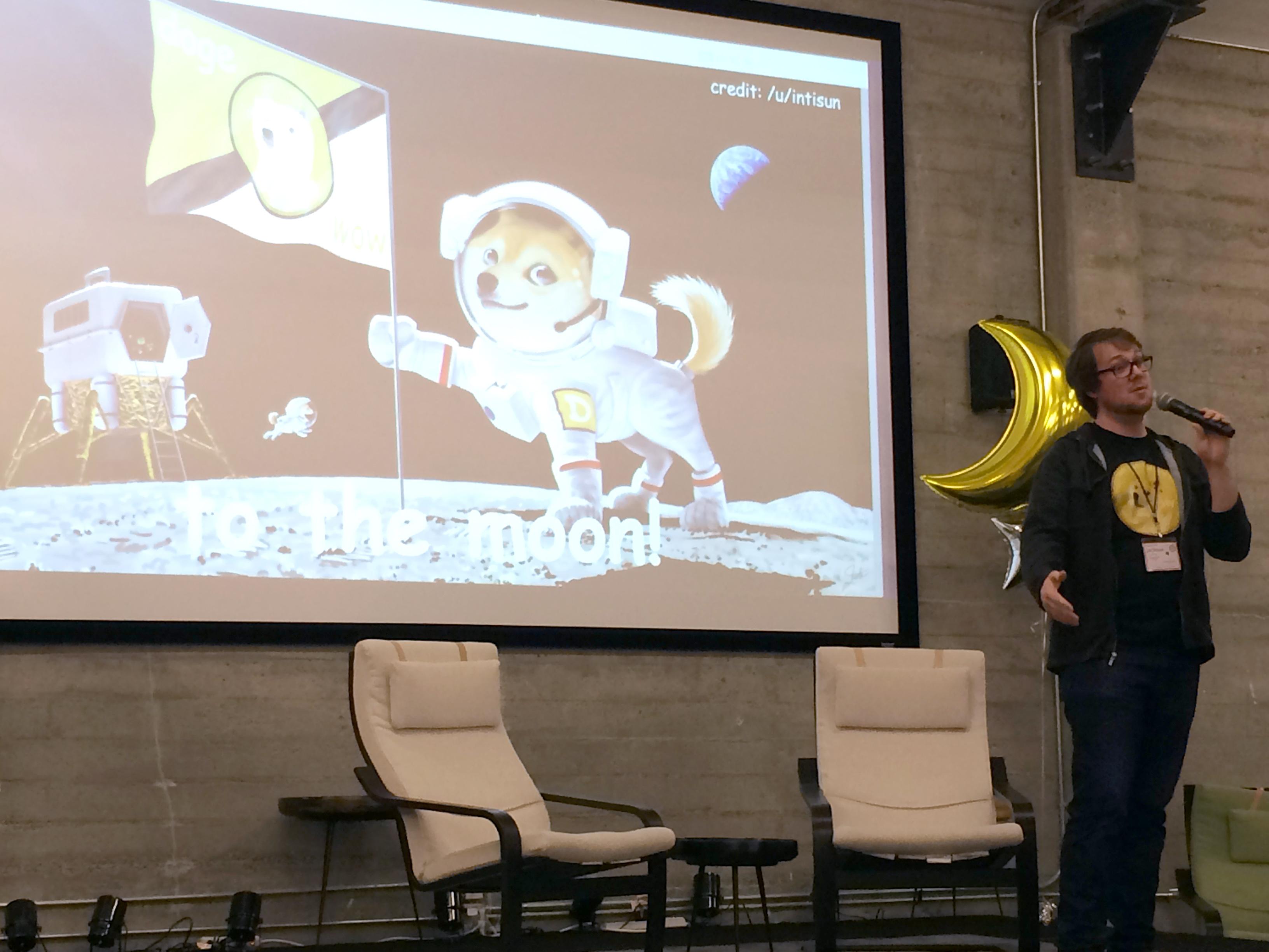Jackson Palmer, co-founder of Dogecoin, speaks at Dogecon on Friday, April 25. Photo by Biz Carson/Gigaom