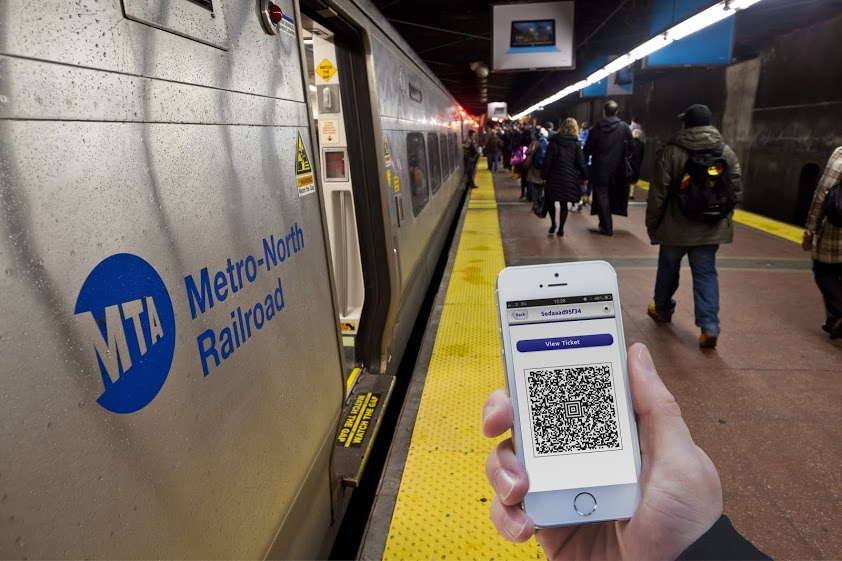 Masabi's mobile ticketing app displaying a ticket for the MTA's Metro-North Railroad