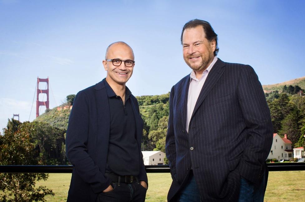 Satya Nadella and Marc Benioff