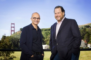 Satya Nadella and Marc Benioff