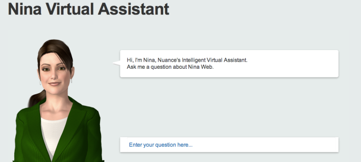 Nuance's Nina virtual agent, which incorporates the VirtuOz technology.