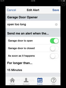 Setting alerts on the MyQ app.