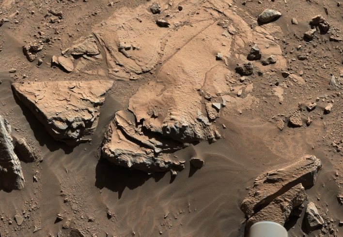 "A slab of rock known as ""Windjana"" the Curiosity team is currently considering having the rover drill into. Photo courtesy of NASA/JPL-Caltech/MSSS."