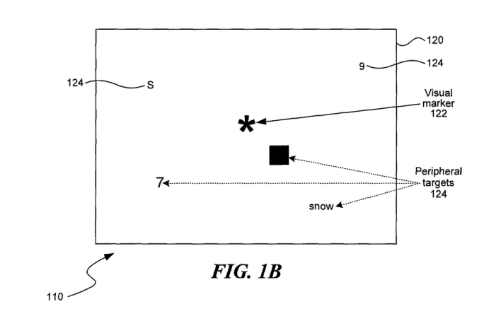 A diagram from a patent filed by Atheer shows how the startup might train people to improve their peripheral vision by being asked to identify shapes outside their central focus.