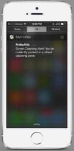 MetroMile Street Cleaning alert