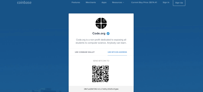 Coinbase payment page