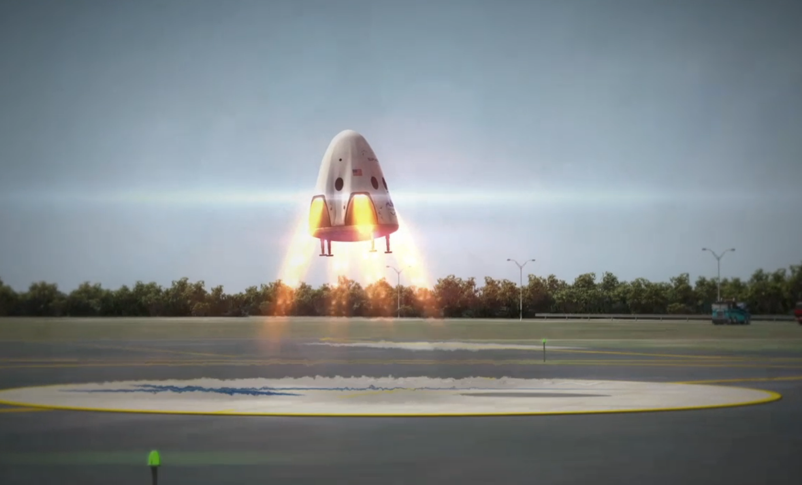 A rendering of the Dragon V2 landing with its new type of thrusters.