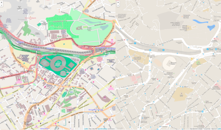 An OpenStreetMap map (left) compared to the same grid by Google Maps (Source: Steve Coast)