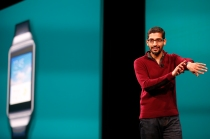 Sundar Pichai, Senior Vice President, Android, Chrome & Apps speaks on stage during the Google I/O Developers Conference. (Photo by Stephen Lam/Getty Images)