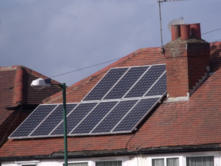 solar panels on a roof, image courtesy of Elliot Brown, Flickr Creative Commons