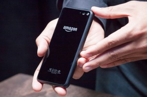 he back of Amazon.com's first smartphone, the Fire Phone, is displayed during a demonstration at the company's Fire Phone launch event on June 18, 2014 in Seattle, Washington. The much-anticipated device is available for pre-order today and is available exclusively with AT&T service.  (Photo by David Ryder/Getty Images)