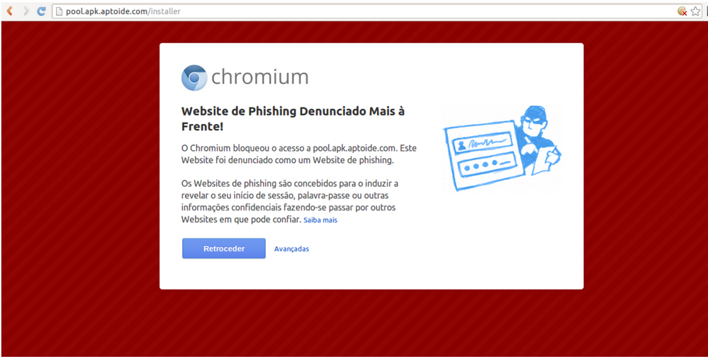 The anti-phishing notice Aptoide's users apparently saw when trying to access the installer via Chrome