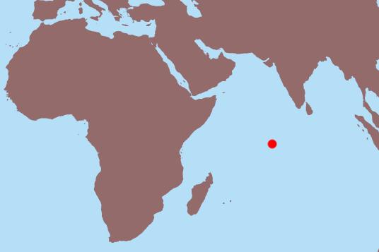 Map showing location of Chagos Archipeligo (red dot)