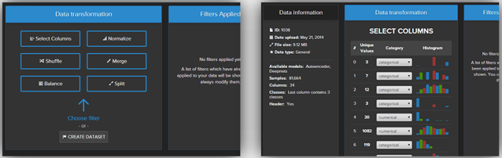 A couple screenshots of the Ersatz UI, during the data-formatting process.