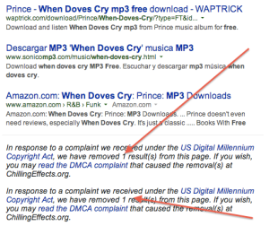 Google DMCA result