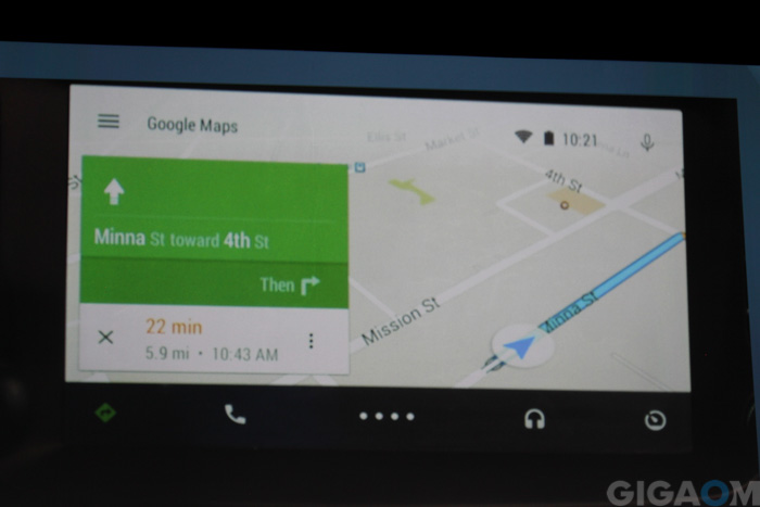Google Maps in Android Auto (photo: Janko Roettgers)