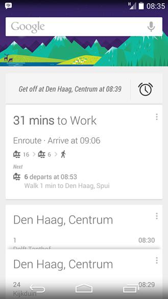 Google Now public transit alarm
