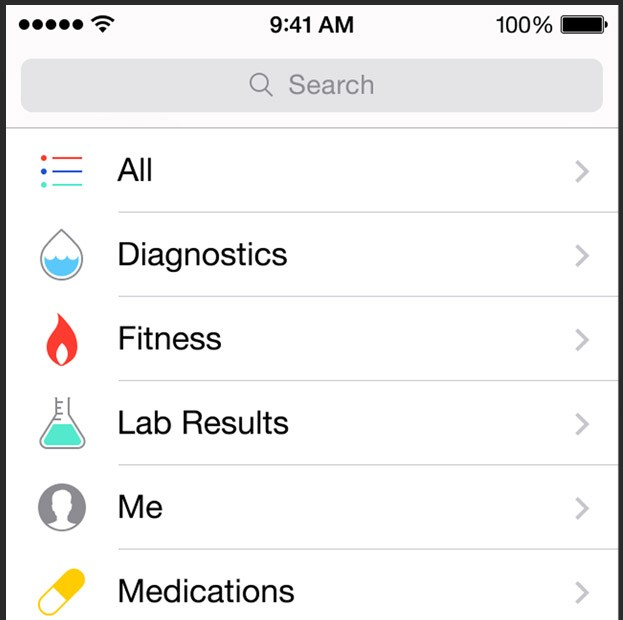 health screen iOS 8