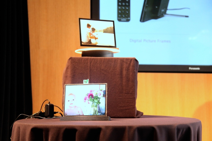 A working prototype and design prototype of the smart picture frame. Photo by Signe Brewster.