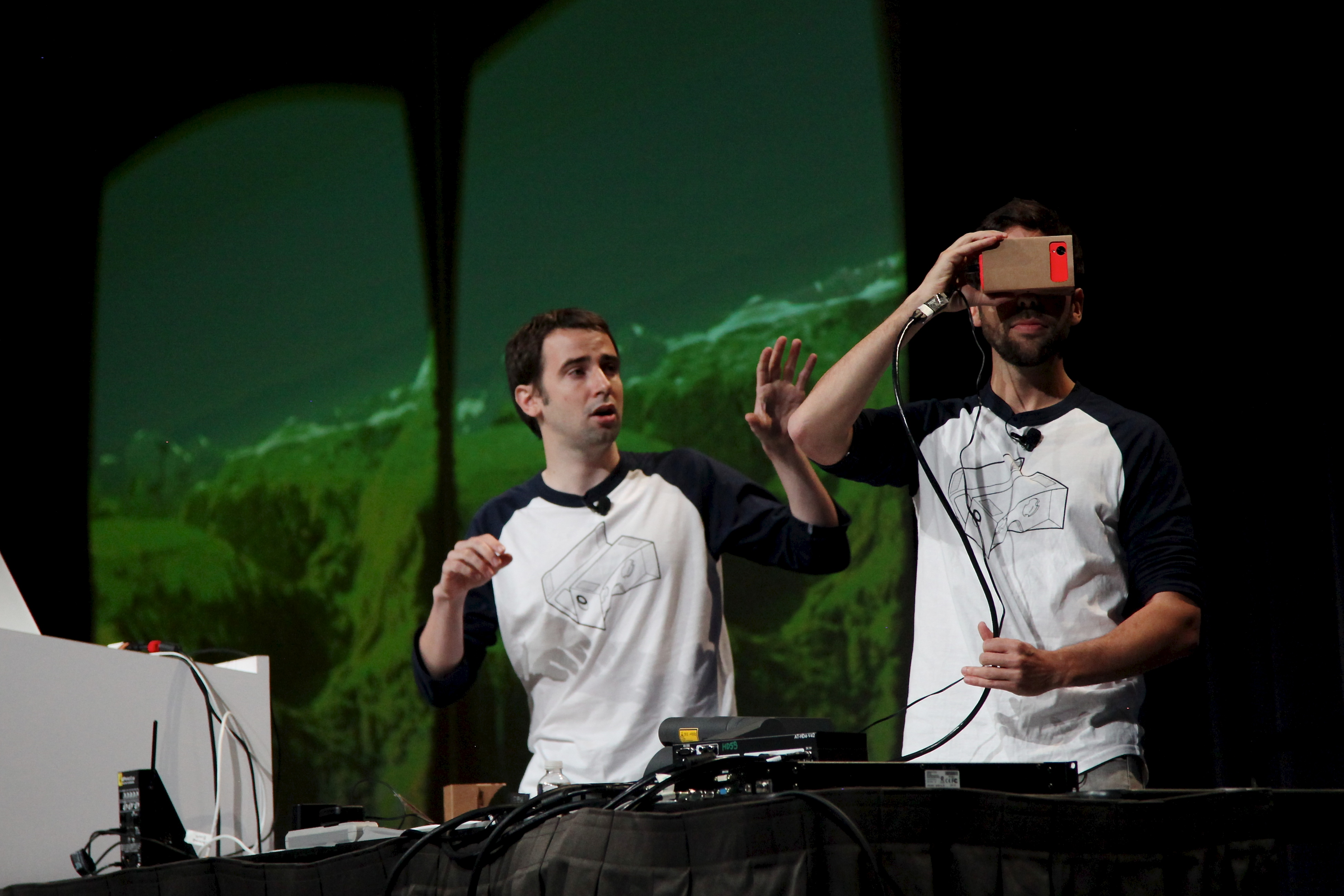 David Coz and Boris Smus demonstrate Cardboard at Google I/O.
