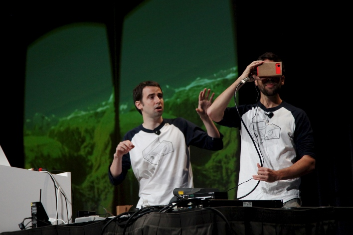 David Coz and Boris Smus demonstrate Cardboard at Google I/O. Photo by Signe Brewster.