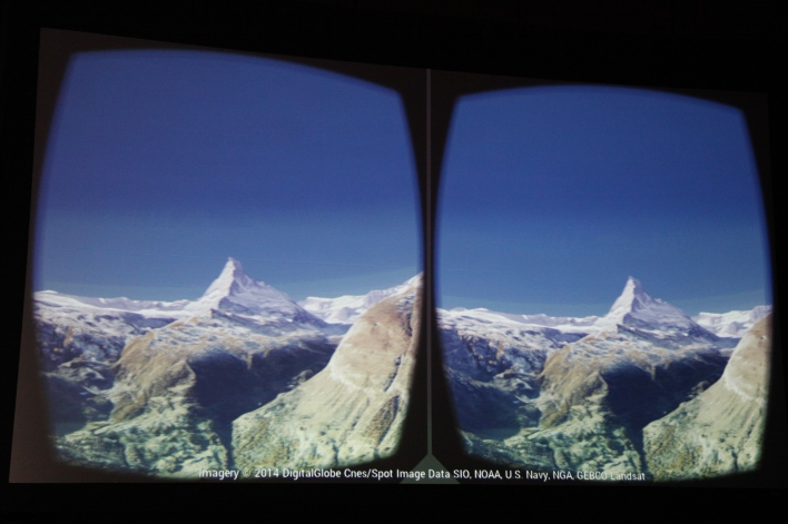 The Matterhorn, as seen through Cardboard. Photo by Signe Brewster.