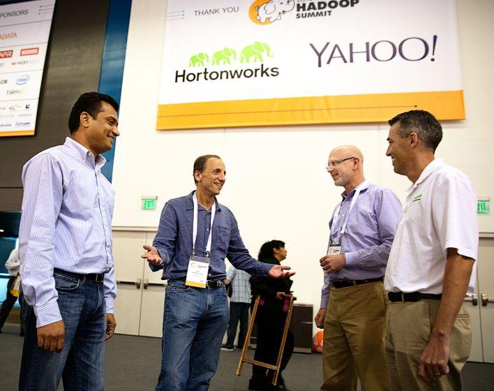 L to R: Sumit Singh (Yahoo), Jay Rossiter (Yahoo), Greg Pavlik (Hortonworks), Tim Hall (Hortonworks). Source: John Curley