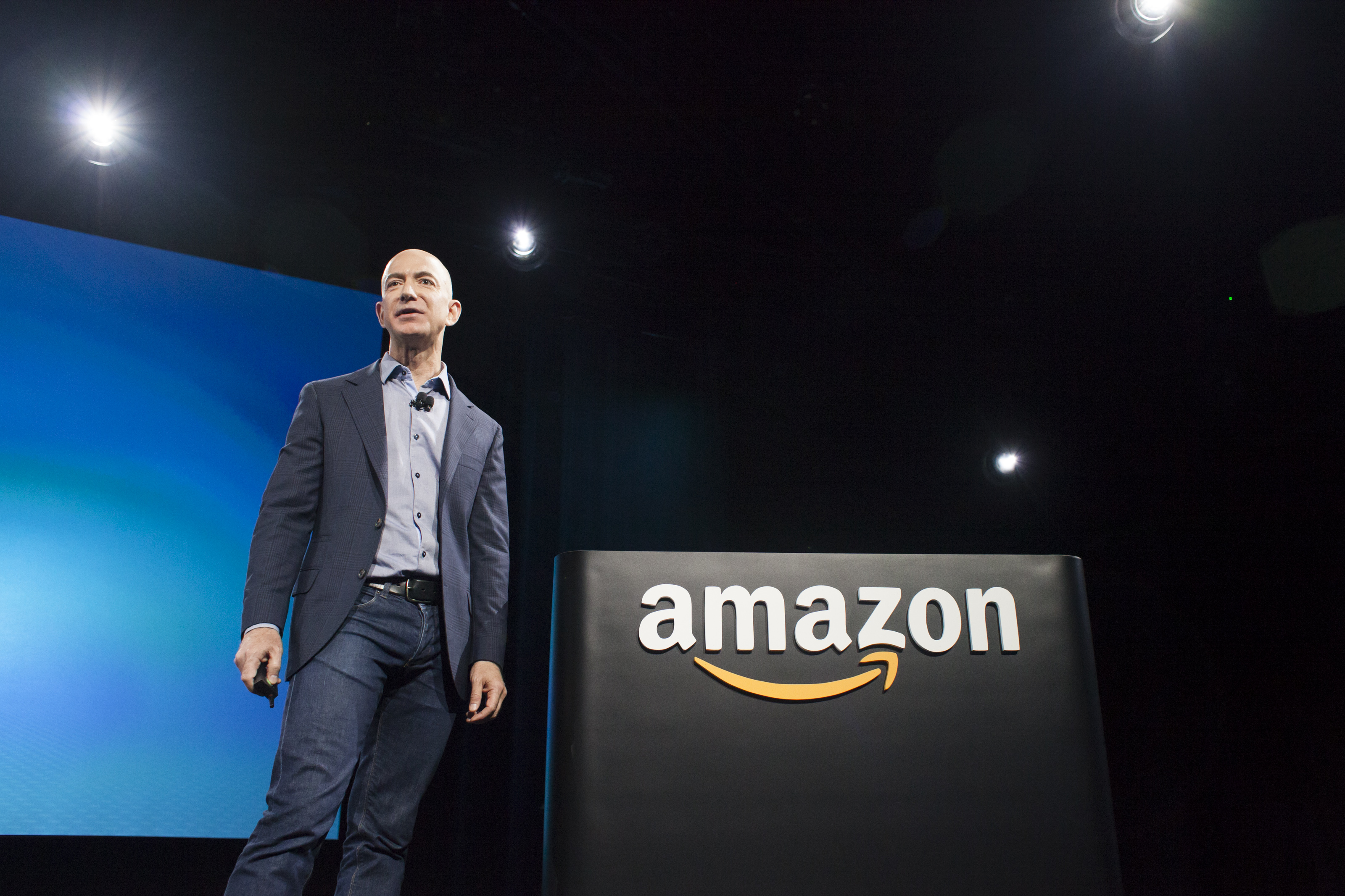 Amazon.com founder and CEO Jeff Bezos presents the company's first smartphone, the Fire Phone, on June 18, 2014 in Seattle, Washington.   (Photo by David Ryder/Getty Images)