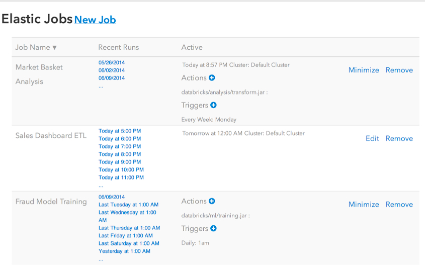 The Job Launcher UI in Databricks Cloud.