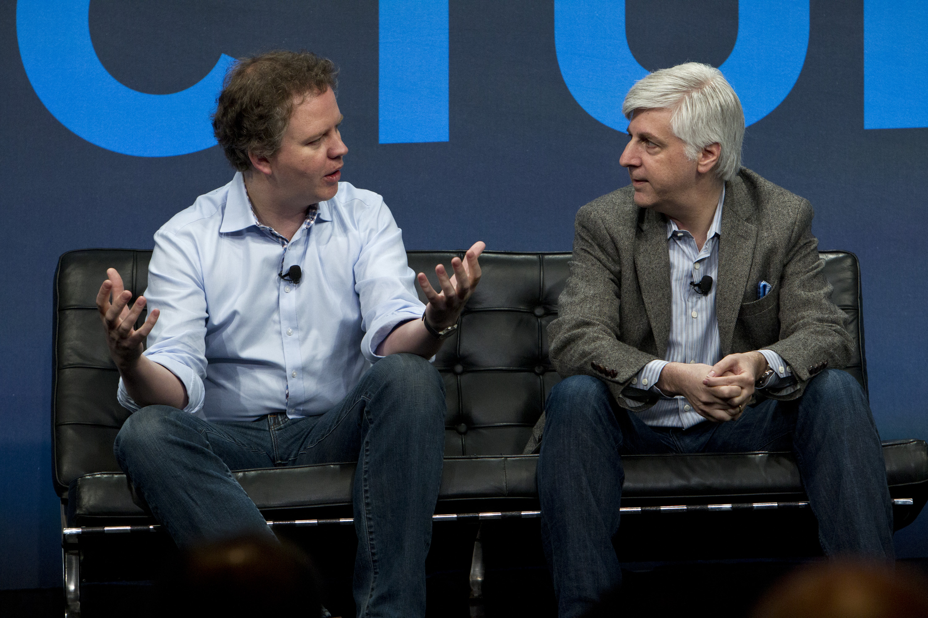 Matthew Prince, cofounder and CEO of CloudFlare, talks with Dan Kaufman, DARPA's director of the Information Innovation Office, at Structure 2014 on July 19 in San Francisco.