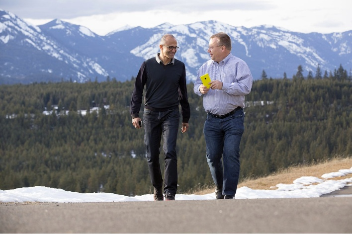 Microsoft CEO Satya Nadella and Executive Vice President of Devices Stephen Elop.
