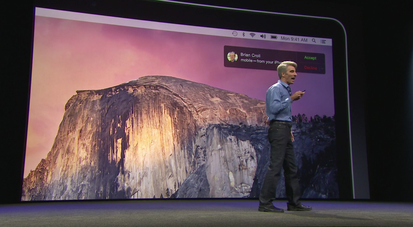 Apple SVP of software engineering Craig Federighi makes an iPhone call to Dr. Dre using the Mac as a speakerphone