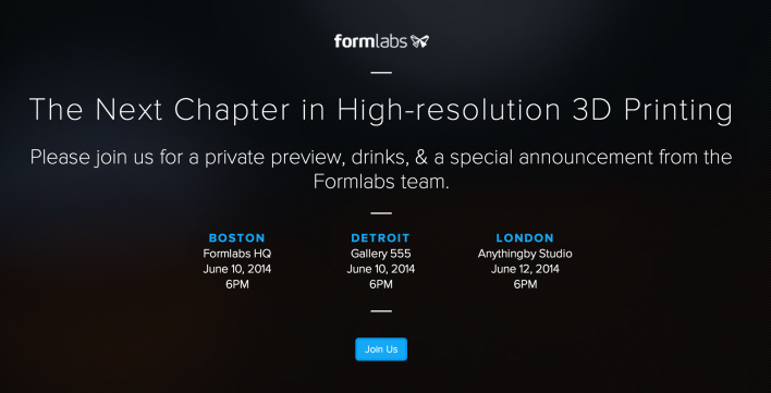 The invitation for Formlabs' Tuesday event.