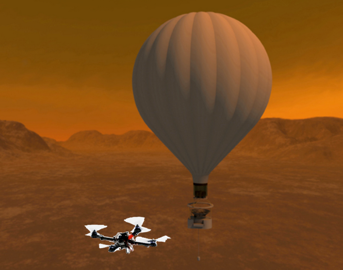 A rendering of a drone above Titan's surface. The drone could be accompanied by a balloon, where it could dock and recharge. Photo courtesy of Larry Matthies / NASA JPL.