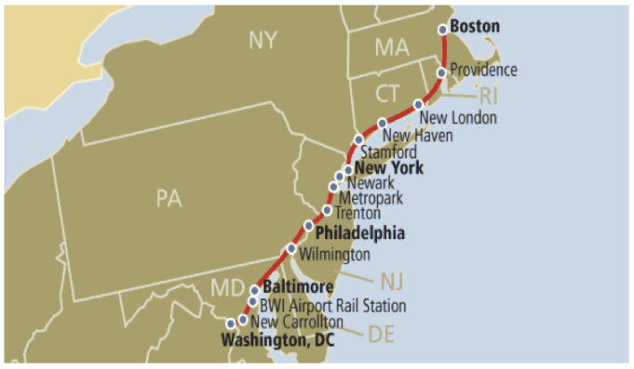 Amtrak's Northeast Corridor (source: Amtrak)