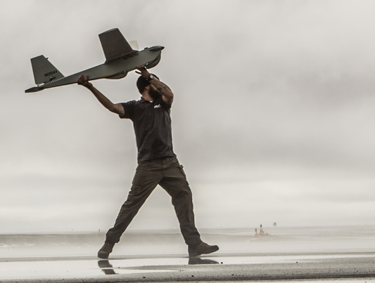 An AeroVironment Puma AE being launched by hand. Photo courtesy of AeroVironment.