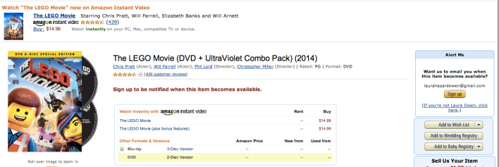 Lego Movie Amazon Warner Bros